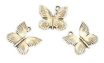 Подвеска металлическая, Бабочка 18*17*2мм 10шт Античное серебро, Margo