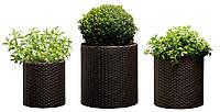 Набор горшков для цветов Cylinder Planter Set, коричневый
