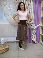 Юбка из вельвета для беременных ДЕЛОВАЯ МАМА (коричневая, размер S)