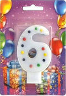 Свеча для торта Хобби SV-001-6p Цифра 6 розовая