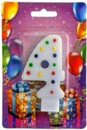 Свеча для торта Хобби SV-001-4p Цифра 4 розовая