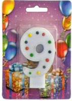 Свеча для торта Хобби SV-001-9b Цифра 9 голубая