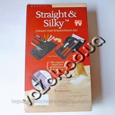 Набор выпрямитель утюжок щипцы плойка для укладки волос с керамическими пластинами Straight & Silky