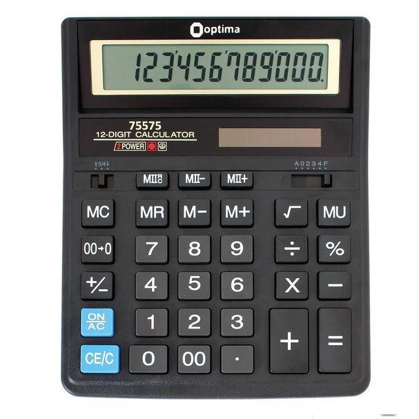 Калькулятор OPTIMA 12 разрядов 203*158*30,5мм 75575