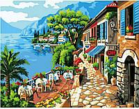 Картина раскраска по номерам на холсте 40*50см Идейка MG1051/M009 Кафе на берегу, аналог VP016
