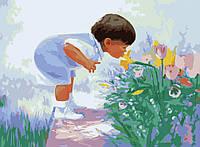 Картина раскраска по номерам на холсте 40*50см Идейка MG1029 Будущий флорист