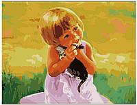 Картина раскраска по номерам на холсте 40*50см Идейка MG1037 С любимым котенком