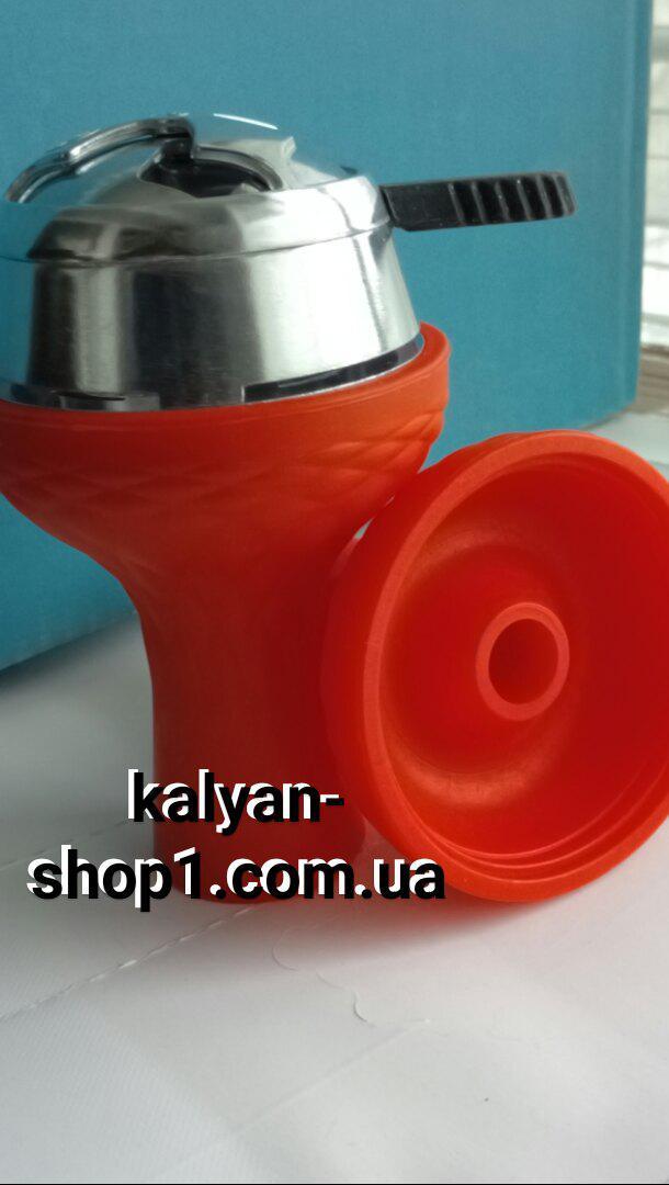 Комплект  чаша для кальяна самсарис фанел красная  и Калауд лотос рифленый AMY Deluxe