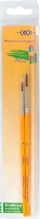 Набор кистей 2шт ZiBi 6951 пони круглая (№4,6) в п/э пенале
