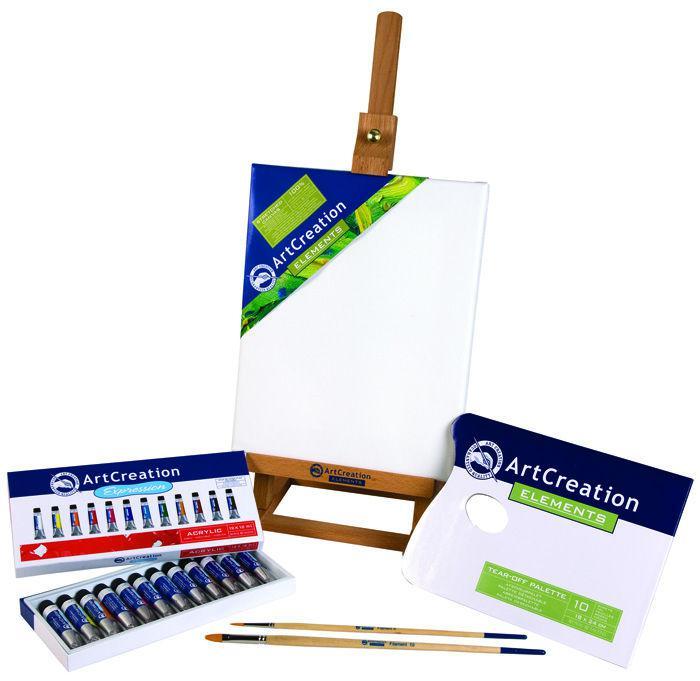 Краски акриловые ArtCreation Combiset набор 12цв. по 12мл, 2кисти, полотно 24*30, мольберт 52см 9011713M