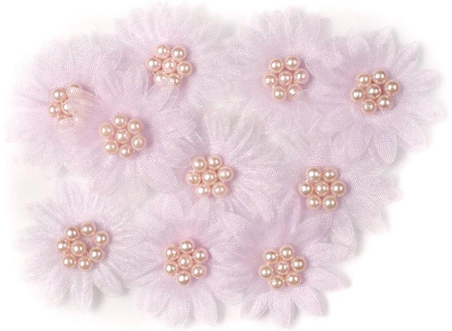 Цветы МАРГАРИТКИ з перлинами бузкові 3,5см 10шт DALPRINT 947AS1004