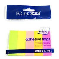 Стикеры-закладки бумажные 5цв.*30л. Economix 20935