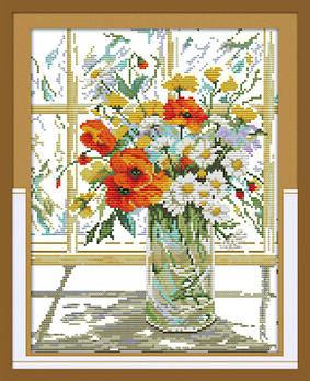 Набор для вышивания Идейка 31*37см Цветы на окне H244