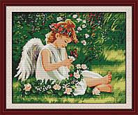 Набор для вышивания Идейка 59*50см Ангелочек в цветах R215