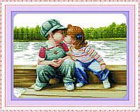 Набор для вышивания Идейка 61*37см Детский поцелуй R290