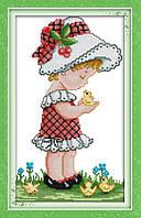 Набор для вышивания Идейка 27*44см Девочка в шляпке R369