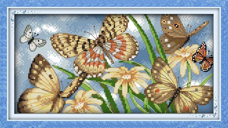 Набор для вышивания Идейка 46*26см Цветы и бабочки D202