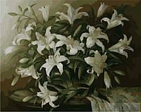 Картина раскраска по номерам на холсте 40*50см Идейка MG1065 Белые лилии