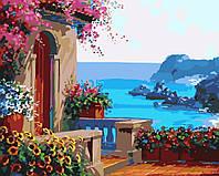Картина раскраска по номерам на холсте 40*50см Идейка MG1090 Крыльцо у моря