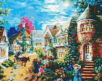 Картина раскраска по номерам на холсте 40*50см Идейка MG1117 Вечерний поселок