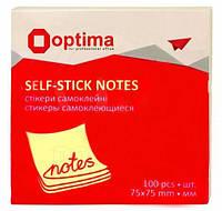Бумага для заметок с липким слоем 75*75 100л. желтая Optima O25503