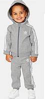 Утепленный детский спортивный костюм Adidas, серый, фото 1