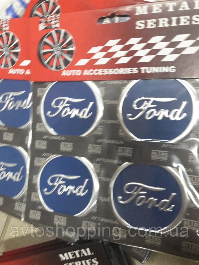 Наклейки на колпачки, заглушки, наклейки на диски 60 мм Ford Форд синий