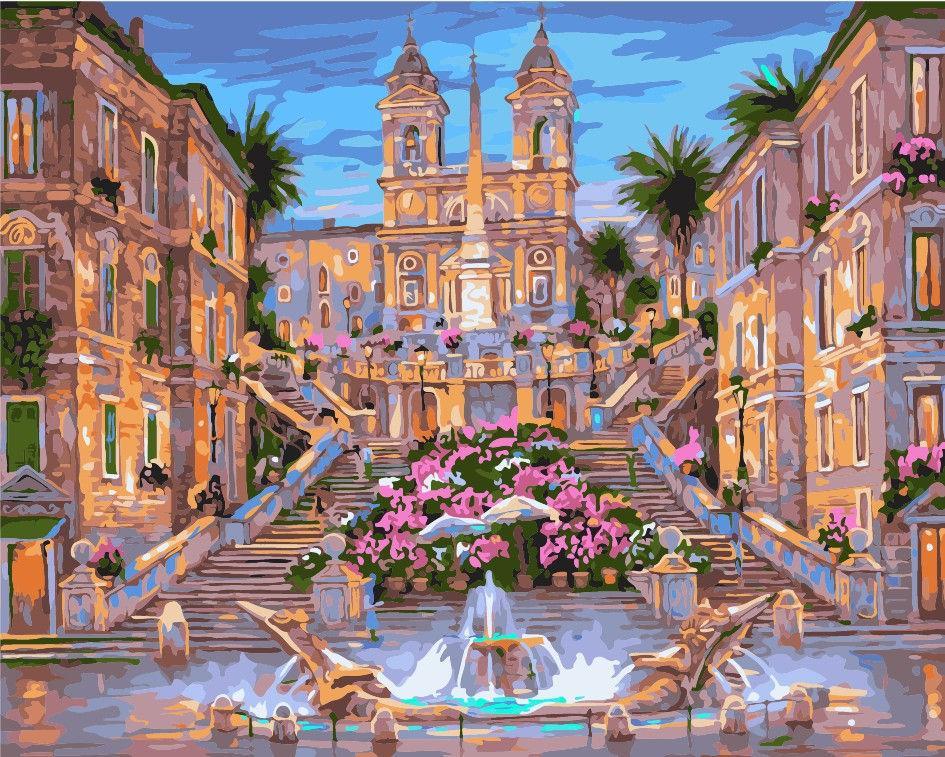 Картина раскраска по номерам на холсте 40*50см Идейка VS065 Испанская лестница в Риме, аналог VP042