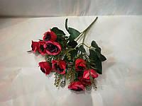 Букет роз шебби шик  красный - марсал.