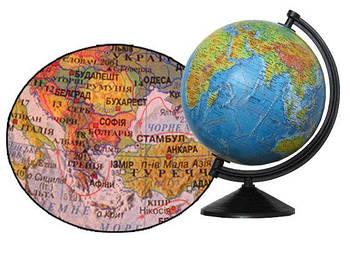 Глобус настольный диаметр 26см ИПТ с подсветкой, на пластиковой ножке, лакированный,  Физический + Политический (ук