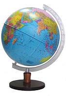Глобус настольный диаметр 32см с подсветкой, на деревянной ножке, лакированный, Физический + Политический (укр)