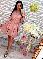 Красивое платье кружевное с шифоновой юбкой