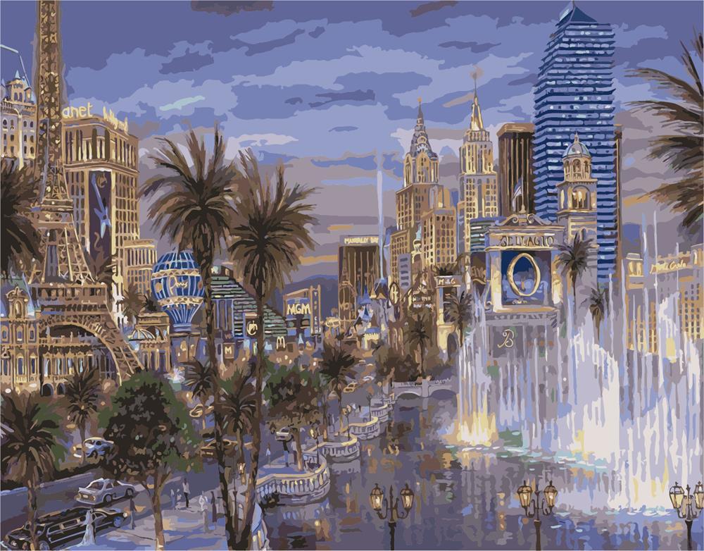 Картина раскраска по номерам на холсте 40*50см Идейка MG1146/VP036 Сумерки в Лас-Вегасе