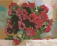 Картина раскраска по номерам на холсте - 40*50см Идейка КН1133 Красные пионы