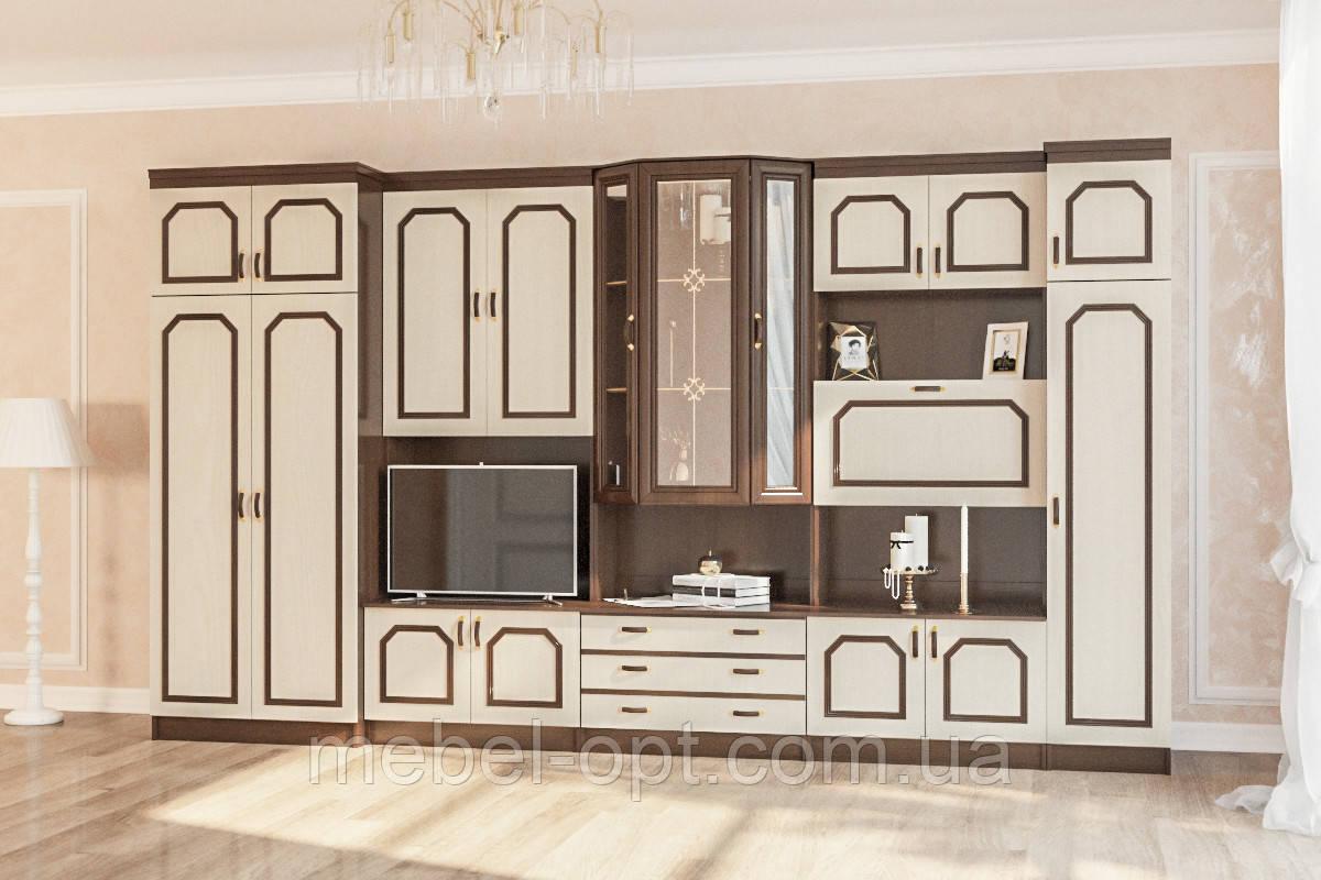 Гостинная Виктория, светлый венге большая классическая стенка с бельевым шкафом, 4050*2080*535