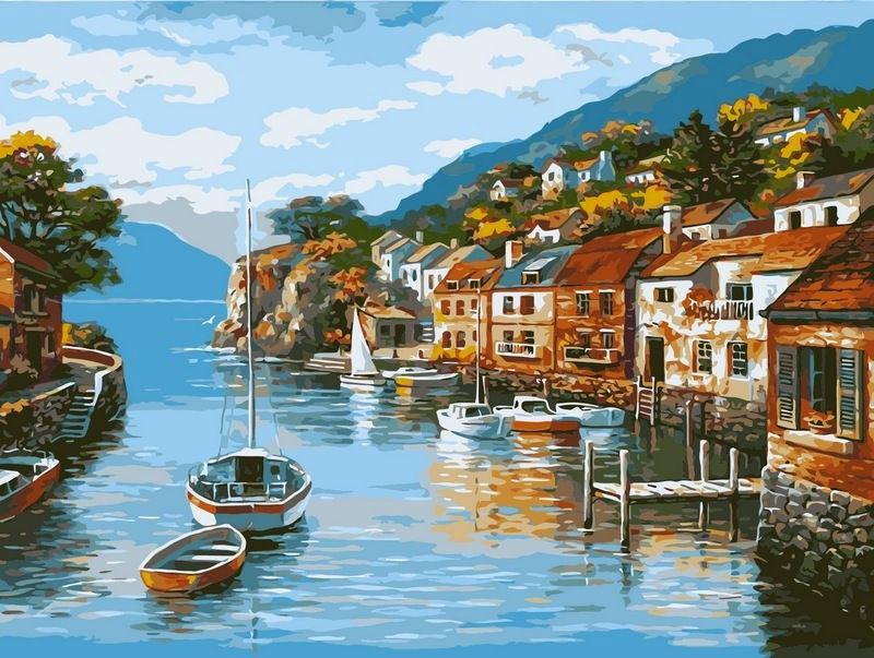 Картина раскраска по номерам на холсте 40*50см Babylon VP002 Дома на воде