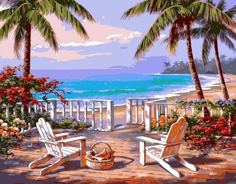 Картина раскраска по номерам на холсте 40*50см Babylon VP009 Пляж Анатолии