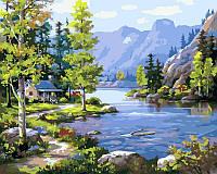 Картина раскраска по номерам на холсте 40*50см Babylon VP220 Домик у ручья