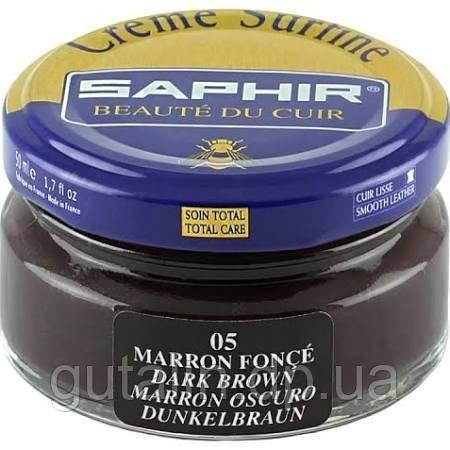 Зволожуючий крем для взуття Saphir Creme Surfine колір темно-коричневий (05) 50 мл