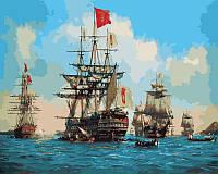 Картина раскраска по номерам на холсте 40*50см Babylon VP258 Королевские парусники