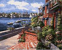 Картина раскраска по номерам на холсте 40*50см Babylon VP263 Дворик у моря