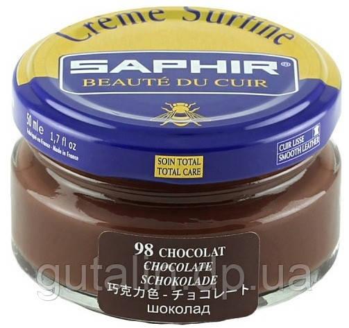 Увлажняющий крем для обуви Saphir Creme Surfine шоколад (98) 50 мл