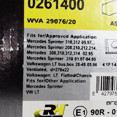 Тормозные колодки Mercedes Sprinter Мерседес Спринтер (1995-) A0024204120. Передн. ROADHOUSE Испания