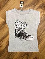 Женская футболка меланж серая