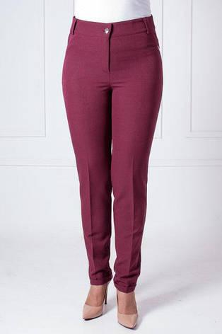 Женские брюки в деловом стиле с манжетами Адрианна бордового цвета , фото 2