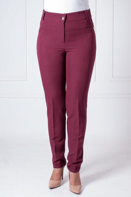 Женские брюки в деловом стиле с манжетами Адрианна бордового цвета