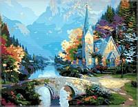 Картина раскраска по номерам на холсте 40*50см Babylon MS338 Предгорная часовня