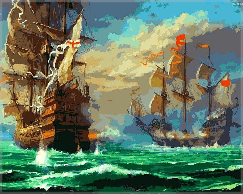 Картина раскраска по номерам на холсте 40*50см Babylon VP319 Морской бой