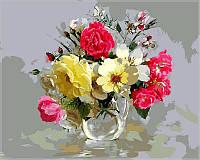 Картина раскраска по номерам на холсте 40*50см Babylon VP329 Букет из шиповника и полевых цветов