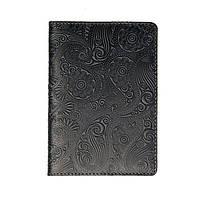 Кожаная обложка для паспорта Turtle, Восточный узор, темно-серый